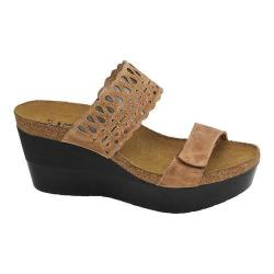 Women's Naot Rise Wedge Sandal Latte Brown Leather/Mirror Leather
