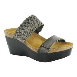 Women's Naot Rise Wedge Sandal Vintage Gray Leather/Black Crackle Leather