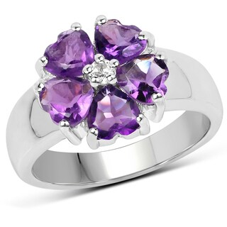 Malaika 0.925 Sterling-silver 2.33-carat Genuine Amethyst and White Topaz Ring