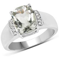 Malaika Sterling Silver 2.3-carat Genuine Green Amethyst and White Topaz Ring