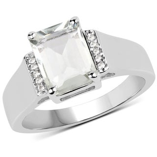 Malaika Sterling Silver 2 25 Carat Genuine Green Amethyst And White Topaz Ring