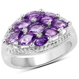 Malaika 1.91-carat Genuine Amethyst .925 Sterling Silver Ring
