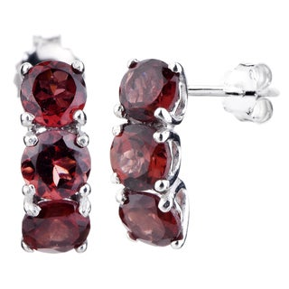 Women's Sterling Silver 1.75-carat 3-stone Garnet Earrings