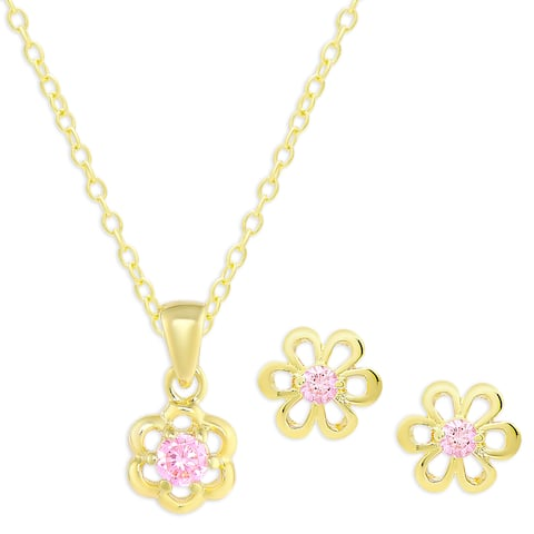 Molly and Emma Gold Over Silver Pink Cubic Zirconia Flower Necklace and Earrings Set