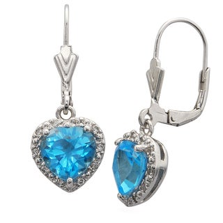 Sterling Silver 2.79-carat Swiss Blue Topaz/White Cubic Zirconia Lever-back Dangling Heart Earrings
