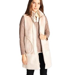 Spicy Mix Matilda Suede Faux-fur High-neck Sleeveless Vest Coat