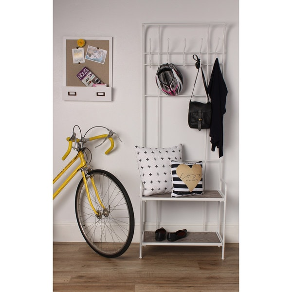 Thetford Free Standing Entryway Metal Coat Rack with Wood Shelves