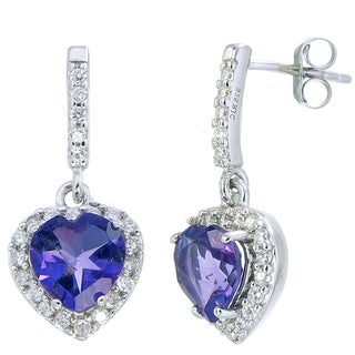 Women's Sterling Silver 0.90-carat Amethyst Heart Earrings