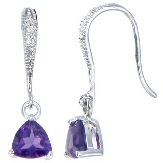 Sterling Silver Amethyst Trillion Drop 1-carat Earrings