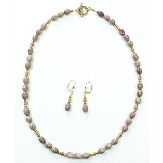 Palmtree Gems 'Jane' Leopardskin Jasper Necklace and Earring Set