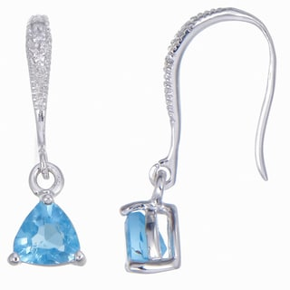 Sterling Silver 0.80-carat Swiss Blue Topaz Trillion Drop Earrings