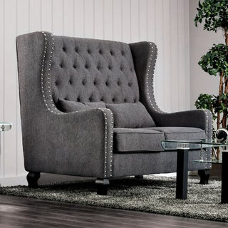 Furniture of America Vai Transitional Linen Nailhead Loveseat Bench
