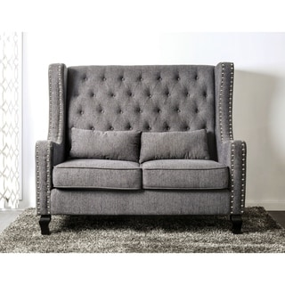 furniture of america lystelle romantic wingback button tufted linen loveseat