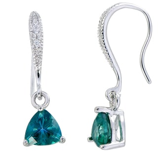 Sterling Silver 1 1/3ct Green Topaz Trillion Drop Earrings