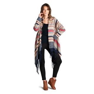 Spicy Mix Zariah Polyester Tribal Print Fringed Hem Open Front Cardigan