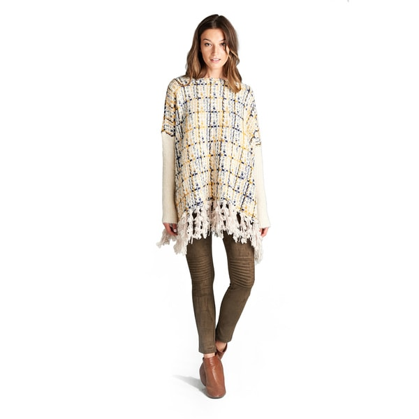 Abril Spicy Mix Chunky Knit Fitted Sleeve Fringed Hem Poncho Sweater