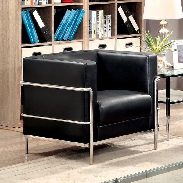 Furniture of America Ralt Contemporary Faux Leather Tuxedo Armchair