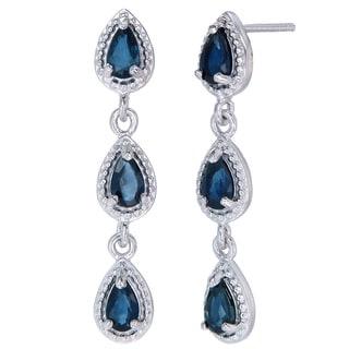 Sterling Silver Blue Sapphire Dangle Earrings