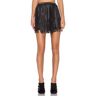 MLV Holly Black Leather Fringe Skirt