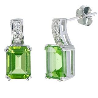 Sterling-silver 2.2-carat Peridot Emerald-cut Stud Earrings