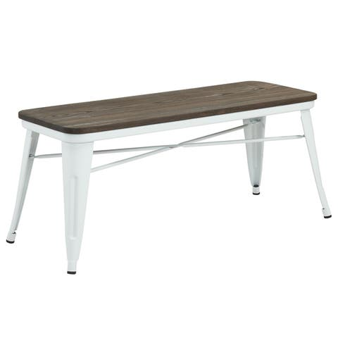 The Gray Barn Quarry on the Cattail Industrial-style Backless Double Dining Bench