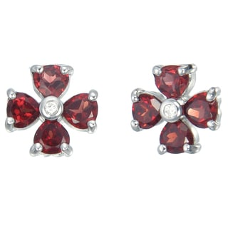 Sterling-silver 1.40-carat Garnet Flower Earrings