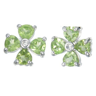 Women's Sterling Silver and 1.40-carat Peridot Flower Earrings