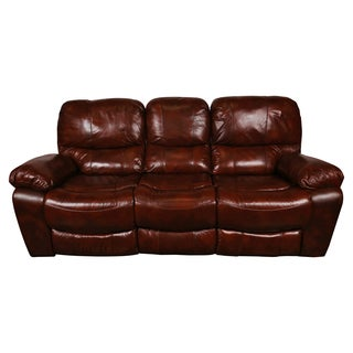 Porter Ramsey Cognac Brown Top Grain Leather Dual Reclining Sofa
