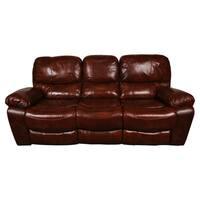 Porter Ramsey Cognac Brown Top Grain Leather Dual Reclining Sofa