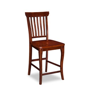 Atlantic Furniture Venetian Pub Chairs with Wood Seat in Walnut (Set of 2)