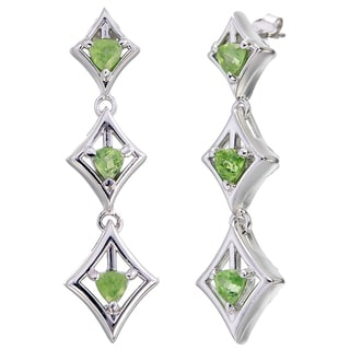 Women's Sterling Silver and 0.80-carat Peridot Trillion Dangle Earrings