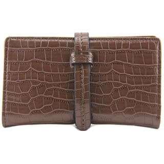 Scarleton Women's 'Small Croc Embossed Drawstring Wallet' Brown Faux Leather Handbag