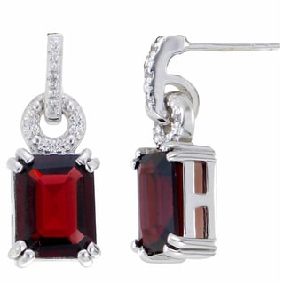 Sterling Silver Garnet Emerald Cut Drop Earrings