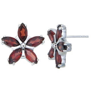 Sterling-silver 1.20-carat Garnet Flower Earrings