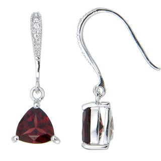 Sterling Silver 1.80-carat Trillion-cut Garnet and Cubic Zirconia Drop Earrings