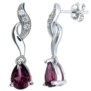 Sterling Silver 1.1-carat Rhodolite Wave Dangle Earrings