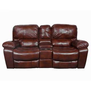 Porter Ramsey Cognac Top Grain Leather Gliding Power Recliner Loveseat with Center Console