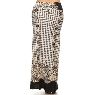Women's Multicolor Polyester Plus-size Ornate Maxi Skirt