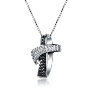 Collette Z Sterling Silver Black and Clear Cubic Zirconia Necklace