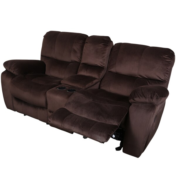 Porter ramsey cocoa brown plush microfiber power recliner loveseat with center console free Reclining loveseat with center console