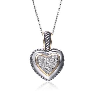 Collette Z Sterling Silver Cubic Zirconia Pave Heart Necklace