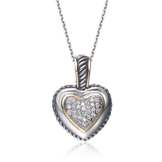 Collette Z Sterling Silver Cubic Zirconia Pave Heart Necklace - White