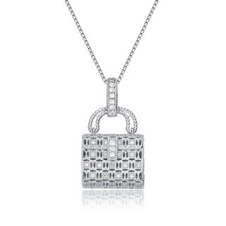 Collette Z Sterling Silver Cubic Zirconia Lock Necklace