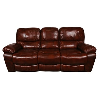Porter Ramsey Cognac Brown Top Grain Leather Power Dual Reclining Sofa