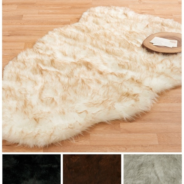 Alexander Home Faux Fur Two-toned Textured Shag Rug. Opens flyout.