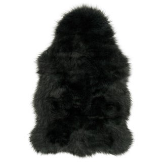 Faux Fur Two-toned Textured Shag Rug (Charcoal/Black - 2 x 3)
