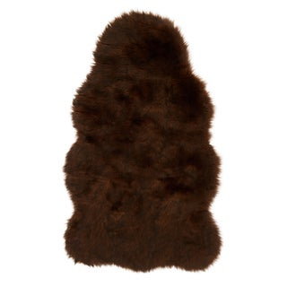 Faux Fur Two-toned Textured Shag Rug (Brown/Black - 2 x 3)