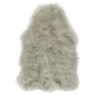 Faux Fur Two-toned Textured Shag Rug (Silver/Grey - 2 x 3)