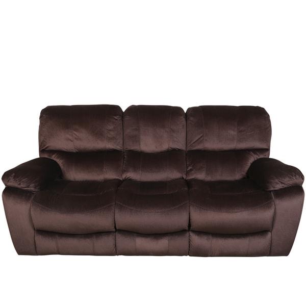 Porter Ramsey Cocoa Brown Plush Microfiber Gliding Recliner Sofa