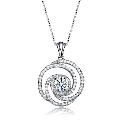 Collette Z Sterling Silver Cubic Zirconia Swirl Knot Necklace - White
